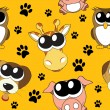 Vector background with cartoon animals , seamless pattern — Foto de Stock
