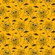 Stock Photo: Vector background with cartoon character, seamless pattern