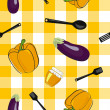 Stock Photo: Vector summer background with vegetables, seamless pattern