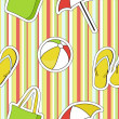 Colorful seamless summer (beach) pattern , vector — Stock Photo #23080602