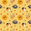 Stock Photo: Seamless summer (beach) pattern , vector