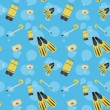 Vector underwater summer background, seamless pattern — Stockfoto