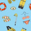 Stock Photo: Vector underwater summer background, seamless pattern