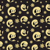 Vector background with cartoon character, seamless pattern — Stock Photo