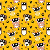 Vector background with cartoon animals , seamless pattern — Stok fotoğraf