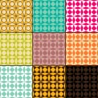 Set of abstract geometric seamless patterns, vector illustration — Foto Stock