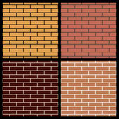 Set of brick wall seamless patterns, vector illustration — Stock Photo