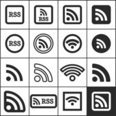 Set of flat simple rss icons, vector illustration — Stock Vector