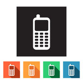 Set of flat icons (phone, telephone, communication) — Stock Vector