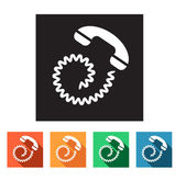 Set of flat icons (phone, telephone, communication) — Stok Vektör