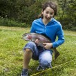 Happy Girl Fishing — Stock Photo