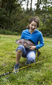 Happy Girl Fishing — Foto de Stock
