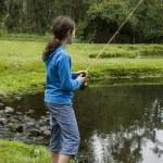Girl Fishing Lake — Stock Photo #12092413