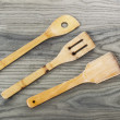 Wooden Spatulas on Old Ash Wood Board — Foto Stock