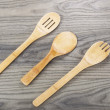 Foto de Stock  : Wooden Spoon Set on Aged Wood