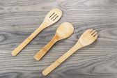 Wooden Spoon Set on Aged Wood — Foto de Stock