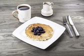 Pancake Breakfast on old table — Stock Photo