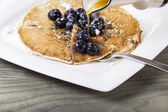 Maple Syrup with Blueberry Pancakes — Stock Photo
