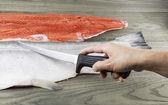 Wild Salmon being Fillet — Stock Photo