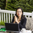 Thinking while working at home outdoors — Stock Photo