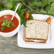 Garden Fresh Tomato Soup and Tuna Fish Sandwich — Stock Photo
