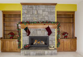 Glowing Fireplace for the Holidays — Stock Photo