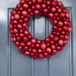 Bright Red Ball Ornaments Wreath — Stock Photo
