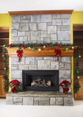 Cozy warm fireplace for the holidays — Stock Photo
