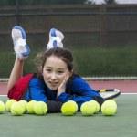 Having Fun on the Tennis Court — Stock Photo