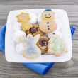 Royalty-Free Stock Photo: Holiday Cookies on Old Wooden Table