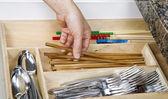 Organizing Kitchen Drawer — Stock Photo