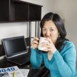 Income Tax Filing Coffee Break — Stock Photo