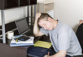 Mature Man getting Frustrated doing Personal Income Taxes — Stock Photo