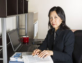 Professional Mature Woman Income Tax Accountant at Work — Stock Photo