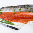 Stock Photo: Fresh Salmon Fish Fillets with Herbs