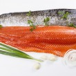 Stock Photo: Wild Salmon Fillets and Herbs