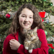 Young Girl with Family Pet during Holidays — Stock Photo