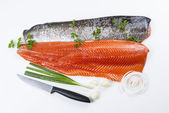 Fresh Salmon Fish Fillets with Herbs — Stock Photo