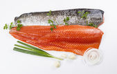 Wild Salmon Fillets and Herbs — Stock Photo