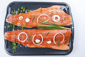Wild Salmon Fillets Ready for Baking — Stock Photo