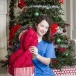 Young Girl with Holiday Gift Jacket — Stock Photo