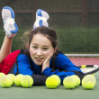 Outdoor Tennis Fun for Girl — Stock Photo #18490173