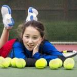 Outdoor Tennis Fun for Girl — Stock Photo