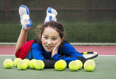 Outdoor Tennis Fun for Girl — Stock Photo