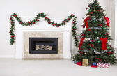 Gas Insert Fireplace in Use during Holidays — Stock Photo
