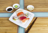Several pieces of fresh sushi ready to eat — Stock Photo