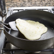 Pancake Batter being Fried — Stock Photo