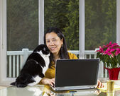 Mature woman Teleworking at home — Stock Photo