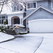 Stock Photo: Snow on Driveway leading to home