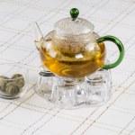 Fresh Green Tea in Glass Pot — Stock Photo #22888084